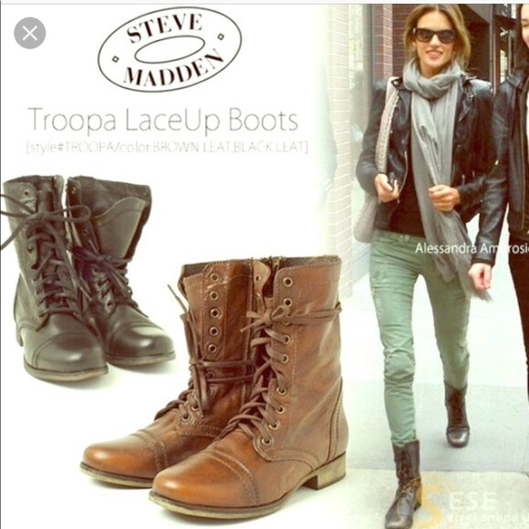 1d8c8177bed Steve Madden Troopa brown leather high lace boots NWT